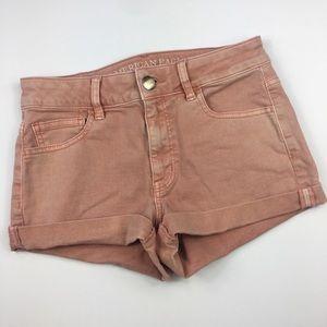 {American Eagle} Pink Hi-Rise Shortie Jean Shorts